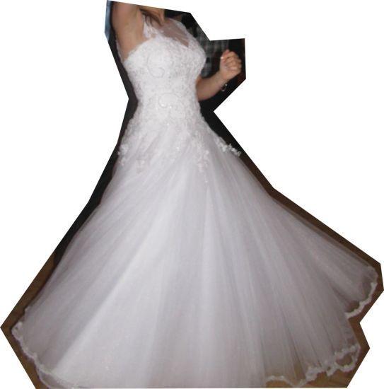 Cena : 1200 PLN. Rozmiar : 36,38. Suknia ślubna   Firmy CATHERINE. Opis :Śliczna Princeska szyta na miarę w salonie CATHERINE. Rozmiar 36, na wzrost 165-170 cm.Gorset pokryty koronką schodzący poniżej bioder, regulowany z tyłu. Dolną część tworzy wiele warstw tiulu.