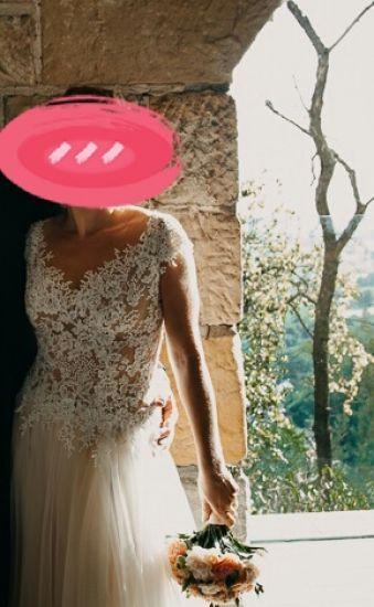 Cena : 1200 PLN. Rozmiar : 36,38,40. Suknia ślubna   Firmy Gracja. Opis :Suknia została uszyta do wzrostu 169cm, obcas 7cm. Wymiary: biust 91, pod biustem 80, talia 84, biodra 94. Możliwość przeróbek i dopasowania przez komis.