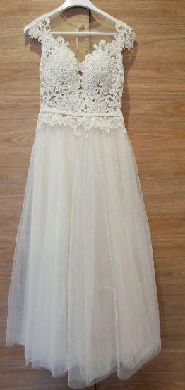 Cena : 1500 PLN. Rozmiar : 36,38. Suknia ślubna   Firmy Pappilio. Opis :